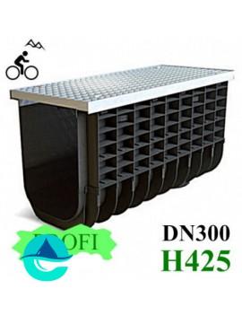 ЛВП Profi DN300 H425 A15 лоток пластиковый водоотводный с решеткой