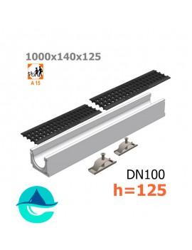 Лоток бетонный ЛВ-10.14.12,5 с решеткой пластиковой и крепежом (комплект)