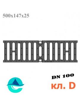 DN100 500/147/25, кл. D чугунная решетка щелевая