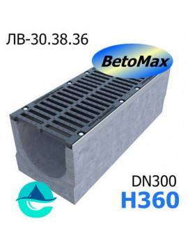 BetoMax ЛВ-30.38.36-Б лоток водоотводный бетонный с решеткой чугунной щелевой ВЧ-50 кл. D и E