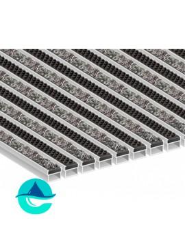 Придверная алюминиевая грязезащитная решетка Текстиль + Щётка, м2