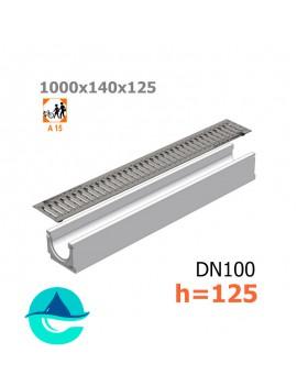 Лоток бетонный ЛВ-10.14.12,5 с решеткой штампованной оцинкованной и крепежом (комплект)
