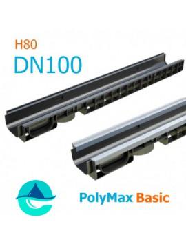 Лоток PolyMax Basic DN100 H80 - водоотводный пластиковый