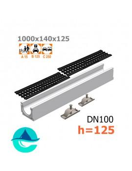 Лоток бетонный ЛВ-10.14.12,5 с решеткой чугунной ячеистой и крепежом (комплект)