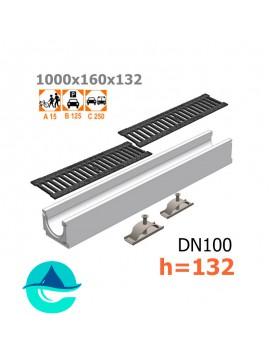 Лоток бетонный ЛВ-10.16.13,2 с решеткой чугунной щелевой и крепежом (комплект)