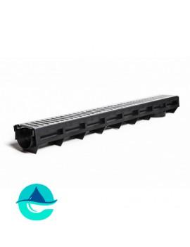 DN90H100 AQUA-TOP лоток водоотводный пластиковый Аквасток с решеткой стальной