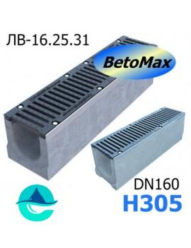 BetoMax ЛВ-16.25.31-Б лоток водоотводный бетонный с решеткой чугунной щелевой ВЧ-50 кл. E