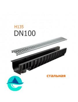 Лоток пластиковый DN100 H135 с решеткой штампованной оцинкованной и крепежом (комплект)