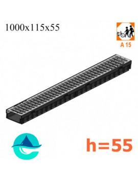 Light ЛВ-10.11,5.5,5- лоток пластиковый водоотводный со стальной решеткой