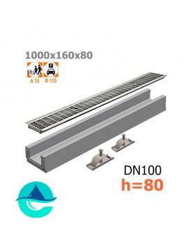 Лоток бетонный ЛВ-10.16.08 с решеткой стальной ячеистой оцинкованной и крепежом (комплект)