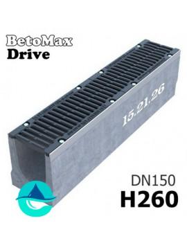 BetoMax Drive ЛВ-15.21.26-Б лоток водоотводный бетонный с решеткой чугунной щелевой ВЧ-50 кл. D