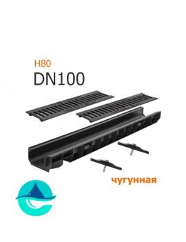 Лоток пластиковый DN100 H80 с решеткой чугунной щелевой и крепежом (комплект)