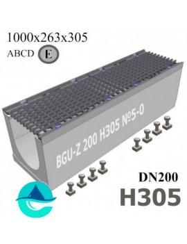 BGU-Z DN200 H305 №5-0 лоток бетонный водоотводный с решеткой чугунной ВЧ-50 кл. E