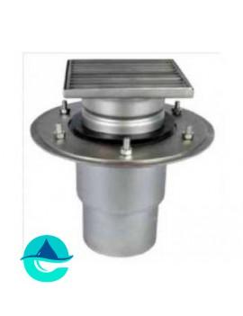 Трап мини 150х150 из нержавеющей стали с вертикальным выпуском ∅ 110мм двухкорпусный с фланцами под гидроизоляцию WM150/110V2