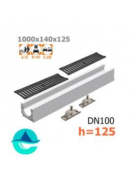 Лоток бетонный ЛВ-10.14.12,5 с решеткой чугунной щелевой и крепежом (комплект)