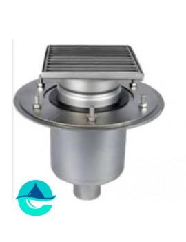 Трап мини 150х150 из нержавеющей стали с вертикальным выпуском ∅ 50мм двухкорпусный с фланцами под гидроизоляцию WM150/50V2