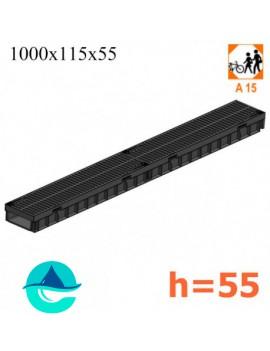 Light ЛВ-10.11,5.5,5- лоток пластиковый водоотводный с пластиковой щелевой решеткой