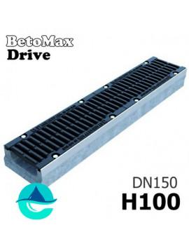 BetoMax Drive ЛВ-15.21.10-Б лоток бетонный водоотводный с решеткой чугунной щелевой ВЧ-50 кл. D