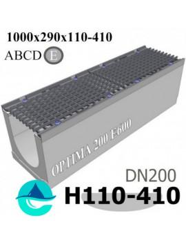 OPTIMA DN200 E600 лоток бетонный водоотводный с решеткой чугунной