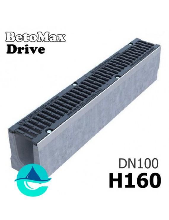 BetoMax Drive ЛВ-10.16.16-Б лоток водоотводный бетонный с решеткой чугунной щелевой ВЧ-50 кл. D