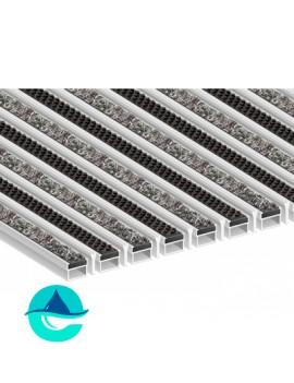 Придверная алюминиевая грязезащитная решетка Текстиль + Щётка + Скребок, м2