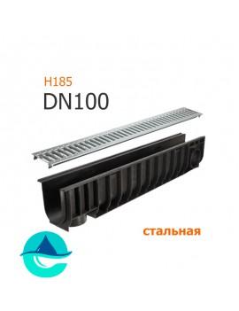 Лоток пластиковый DN100 H185 с решеткой штампованной оцинкованной и крепежом (комплект)