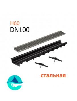 Лоток пластиковый DN100 H60 с решеткой стальной ячеистой оцинкованной и крепежом (комплект)